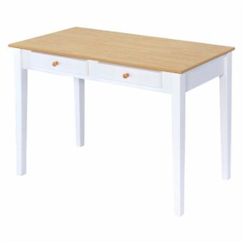 ORE International Oak Top White Cottage Desk with 2 Drawers