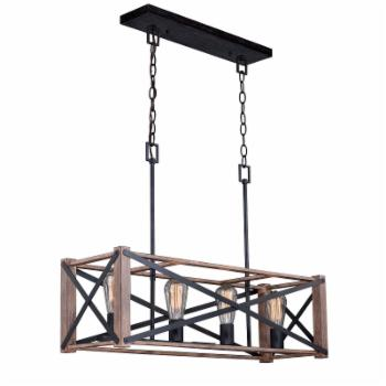 Vaxcel Colton H0238 Rustic Industrial Kitchen Island Pendant Light