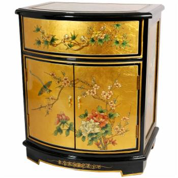 Oriental Furniture Gold Leaf Round Front Decorative Chest