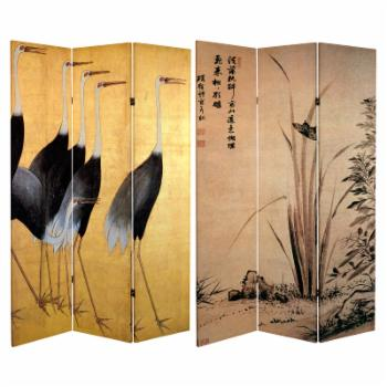 Oriental Furniture Double Sided Cranes 3 Panel Room Divider