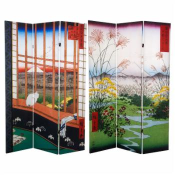 Oriental Furniture Double Sided Hiroshige 3 Panel Room Divider Asakusa Rice Field/Otsuki Plain