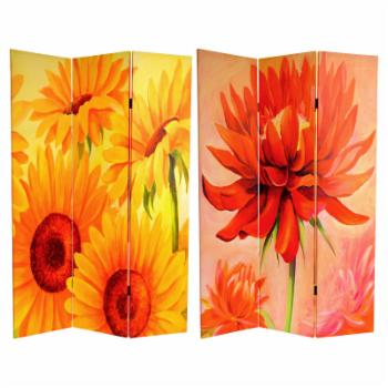 Oriental Furniture Double Sided Poppies and Sunflowers Canvas 3 Panel Room Divider