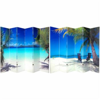 Red Lantern Double Sided 6 Panel Beach Canvas Room Divider