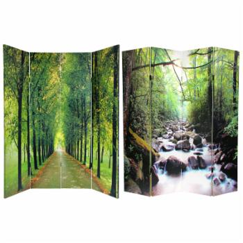 Red Lantern Double Sided 4 Panel Path of Life Canvas Room Divider