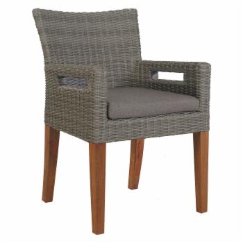Vineyard Wicker Patio Arm Chair with Cushion - Set of 2