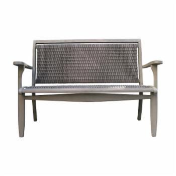 HN Outdoor Mirabel Eucalyptus and Wicker Outdoor Bench