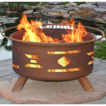Patina Mosaic Santa Fe 31 diam. Fire Pit with Grill and Free Cover