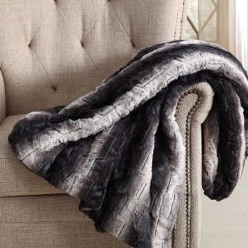 Christian Siriano Black Ombre Luxury Faux Fur Throw