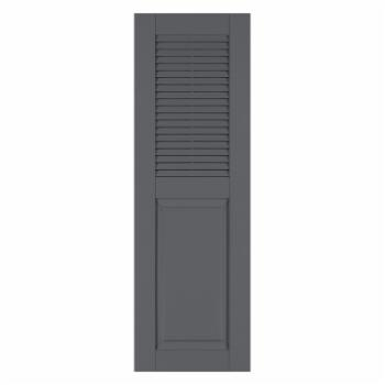Perfect Shutters 17.75W in. Louvered Raised Panel Vinyl Shutters