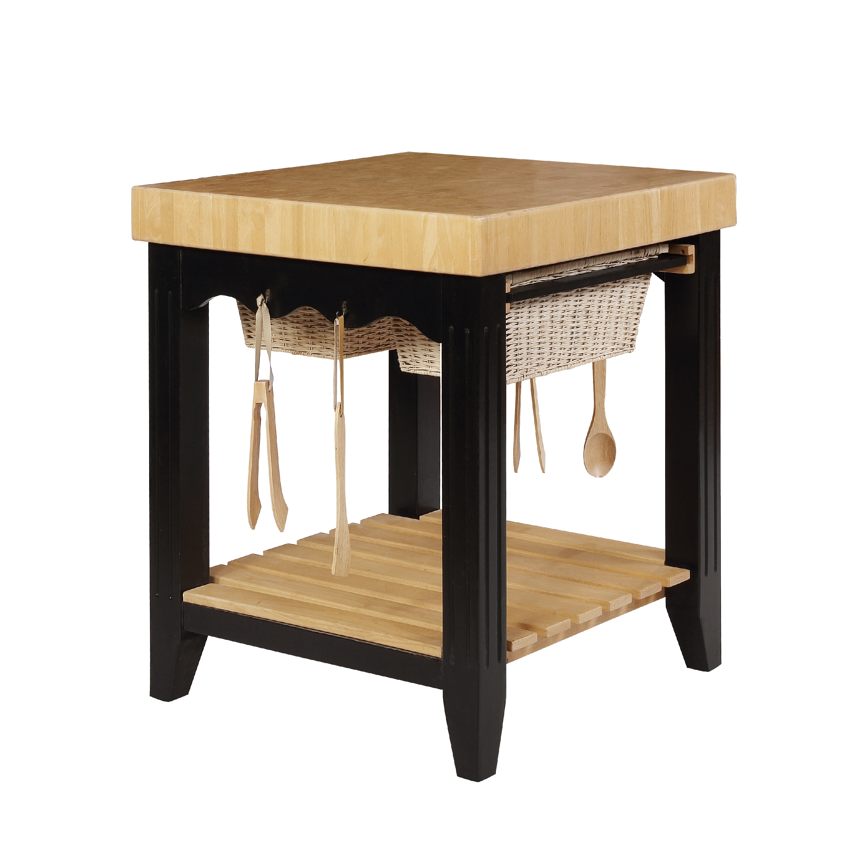 ordinary Chopping Block Kitchen Island #10: Powell Color Story Antique Black Butcher Block Kitchen Island - Kitchen  Islands and Carts at Hayneedle