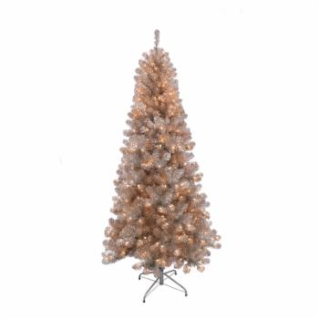 Puleo International Rose Gold Tinsel 6.5 ft. Pre-Lit Artificial Christmas Tree