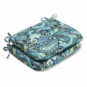 Pillow Perfect Pretty Paisley Navy Rounded Corners Seat Cushion - Set of 2