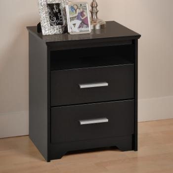 Prepac Coal Harbor 2 Drawer Tall Nightstand with Open Shelf - Black
