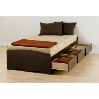 Prepac Mates XL Twin Platform Storage Bed with 3 Drawers - Espresso