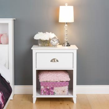 Prepac Yaletown 1-Drawer Tall Nightstand - White