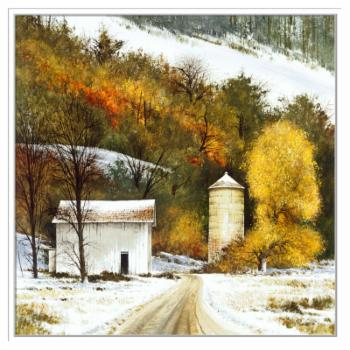 PTM Images Rural Winter Framed Canvas Wall Art