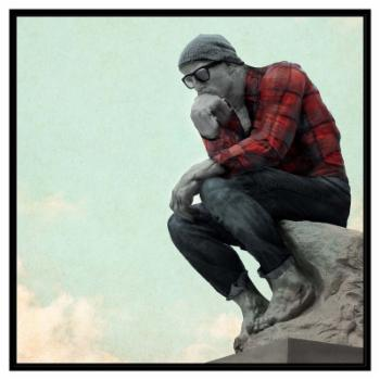 PTM Images Hipster Thinker Framed Canvas Wall Art