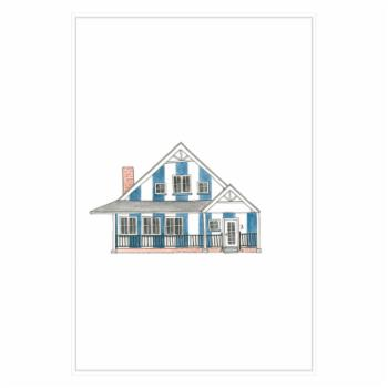 PTM Images Little Striped Houses Blue Framed Canvas Wall Art