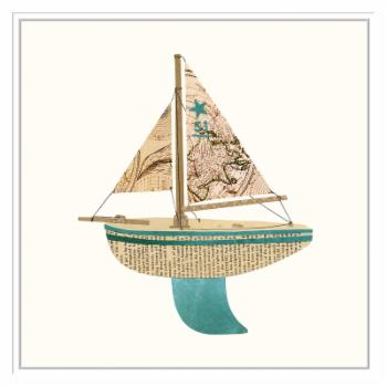 PTM Images Paper Cutout Boat B Framed Canvas Wall Art