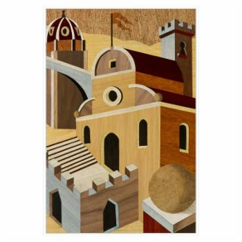 PTM Images Village Scenery I Framed Canvas Wall Art
