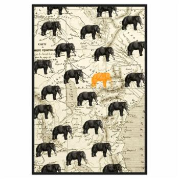 PTM Images Where the Elephant Roam Framed Canvas Wall Art
