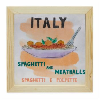 Italy Spaghetti and Meatballs World Cuisine Wall Art by Drew Barrymore Flower Kids