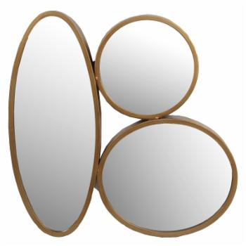 Privilege International 3 Oval Iron Wall Mirror - 23W x 23.5H in.