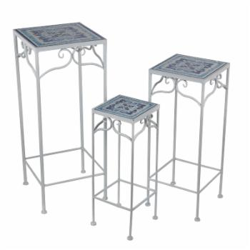 Privilege International Square Tile Plant Stand - Set of 3