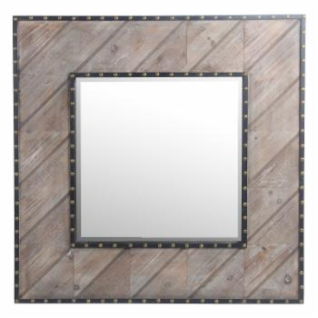 Privilege International Square Wood Wall Mirror with Nail Heads - 32W x 32H in.
