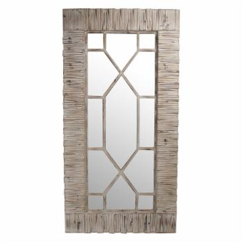 Privilege International Rectangular Wood Wall Mirror with Carved Geometric Overlay - 36W x 71H in.