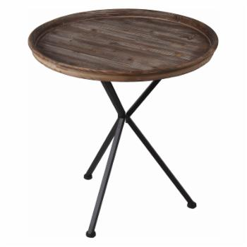 Privilege International Round 24 in. Tray Top Accent Table