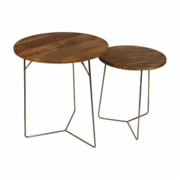 Privilege International Wood Iron End Table - Set of 2