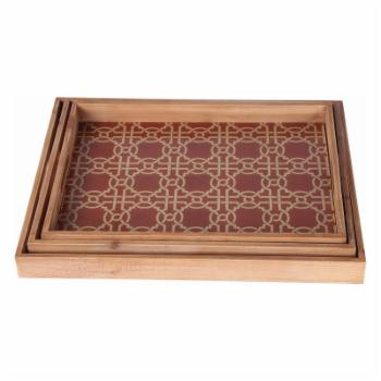 Privilege International 23 in. Wooden Tray - Set of 3