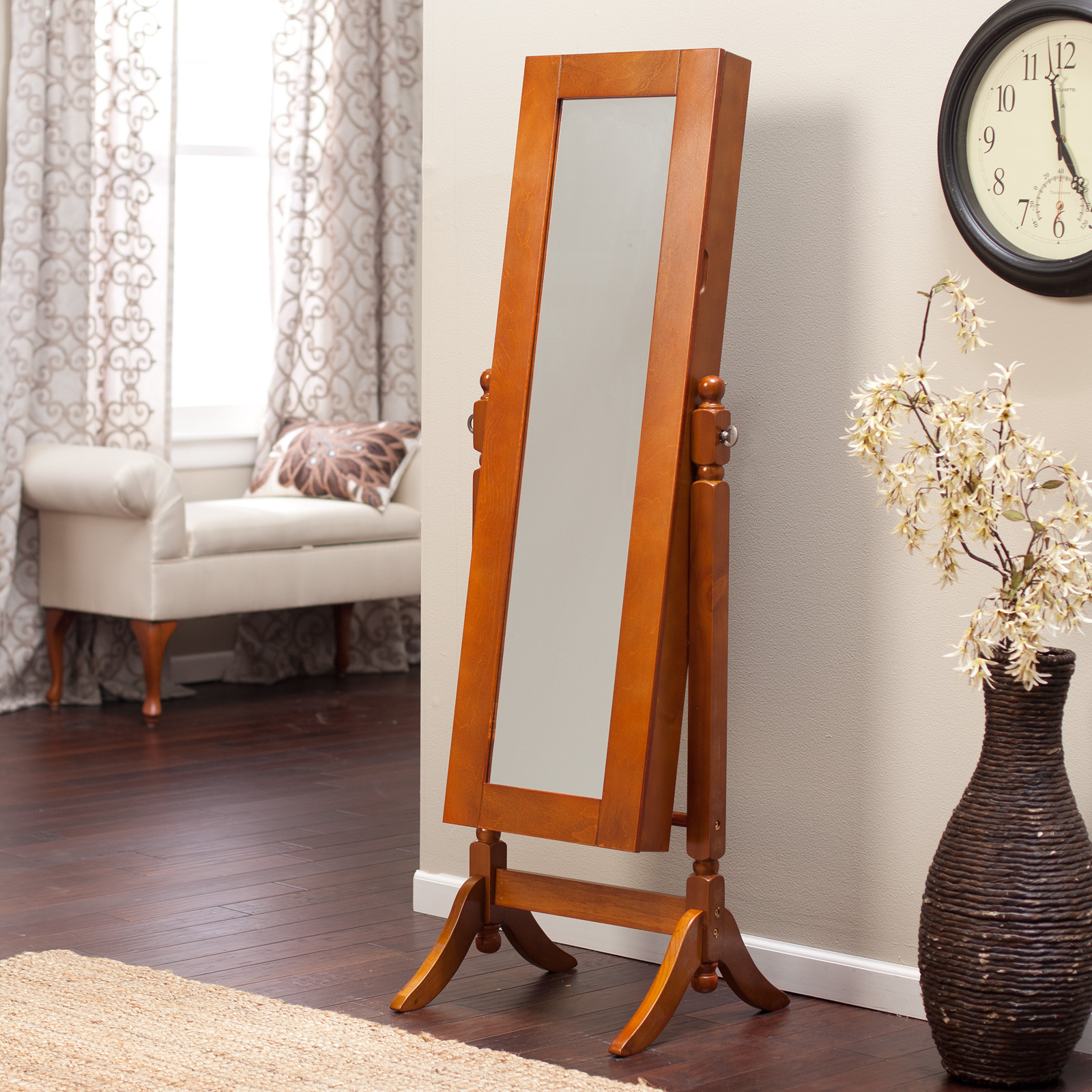 Heritage Jewelry Armoire Cheval Mirror Oak Hayneedle