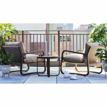 MoDRN Glam Merida 3pc Outdoor Lounge Chat Set - Wood Look
