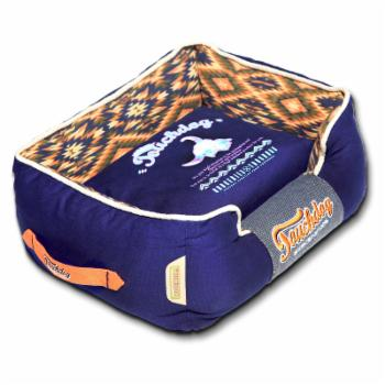 Pet Life Touchdog 70s Vintage Tribal Throwback Diamond Patterned Ultra-Plush Rectangular-Boxed Dog Bed