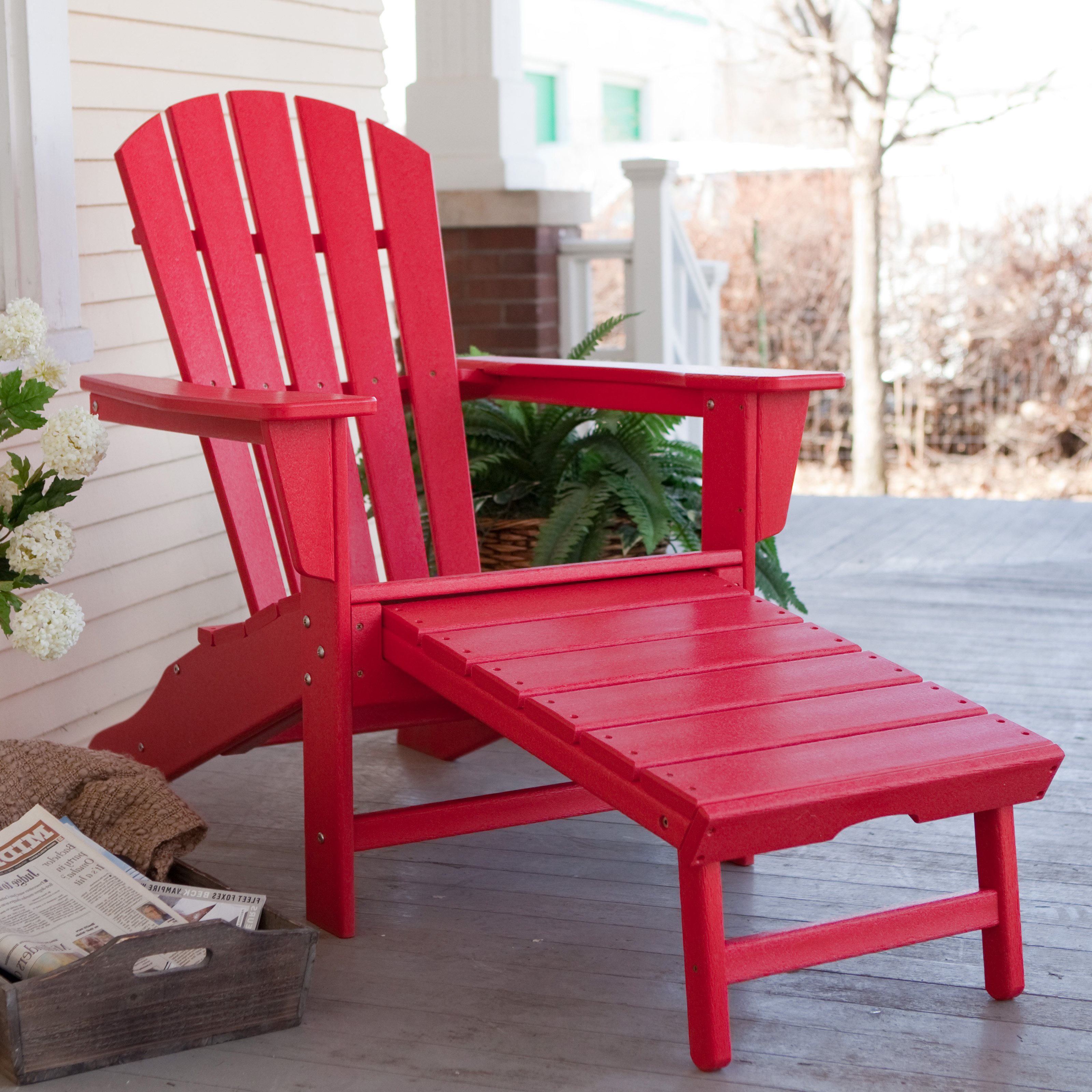 POLYWOOD® Recycled Plastic Big Daddy Adirondack Chair With Pull Out Ottoman  | Hayneedle