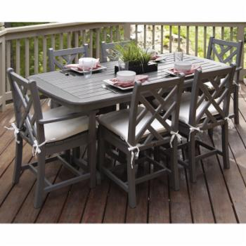 POLYWOOD® Chippendale Dining Set with Cushions - Seats 6 - Slate Grey / Birds Eye