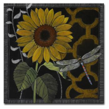 Ready2HangArt Gilt Slate Flora IV by Hope Hansen