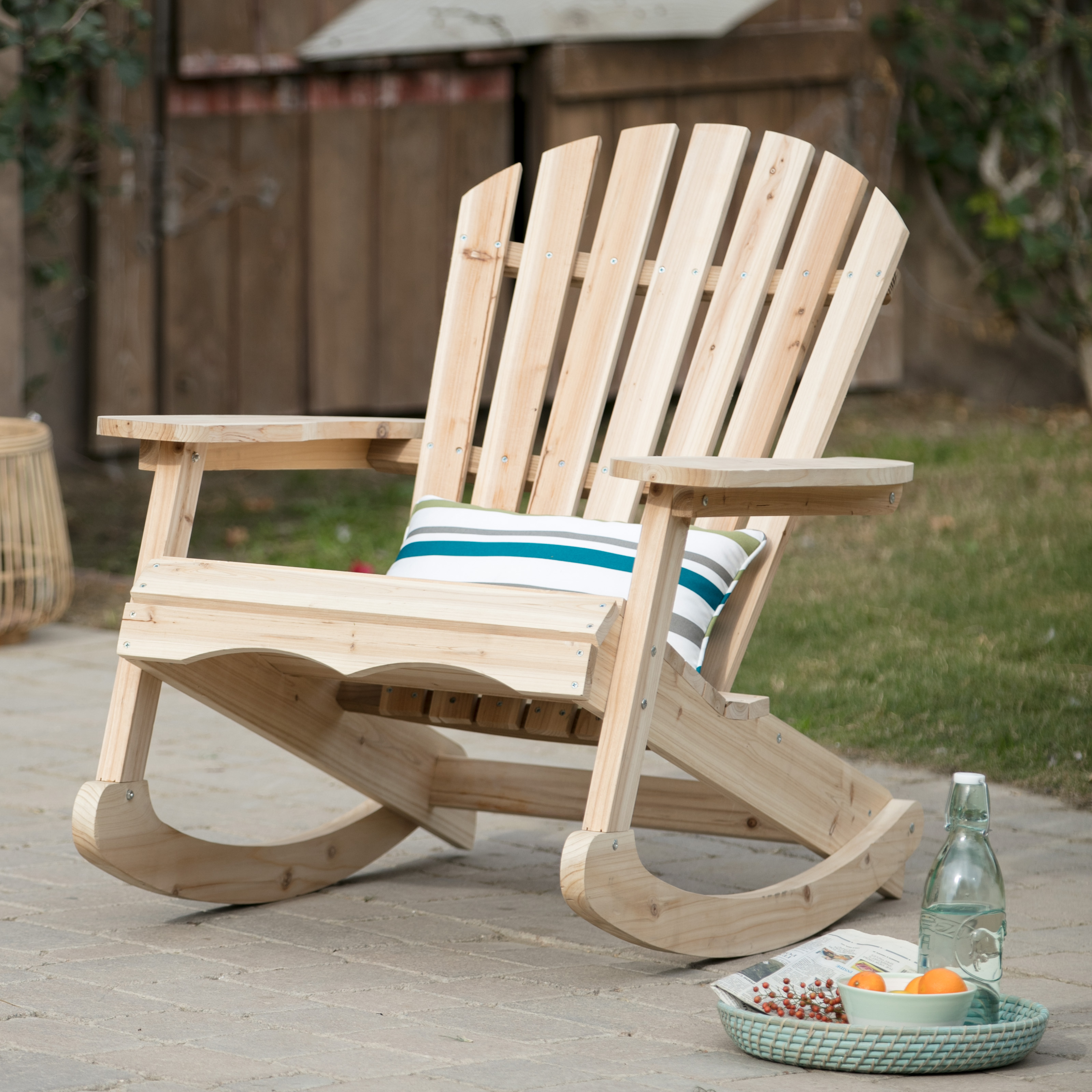 Bon Coral Coast Outdoor Adirondack Rocking Chair   Unfinished