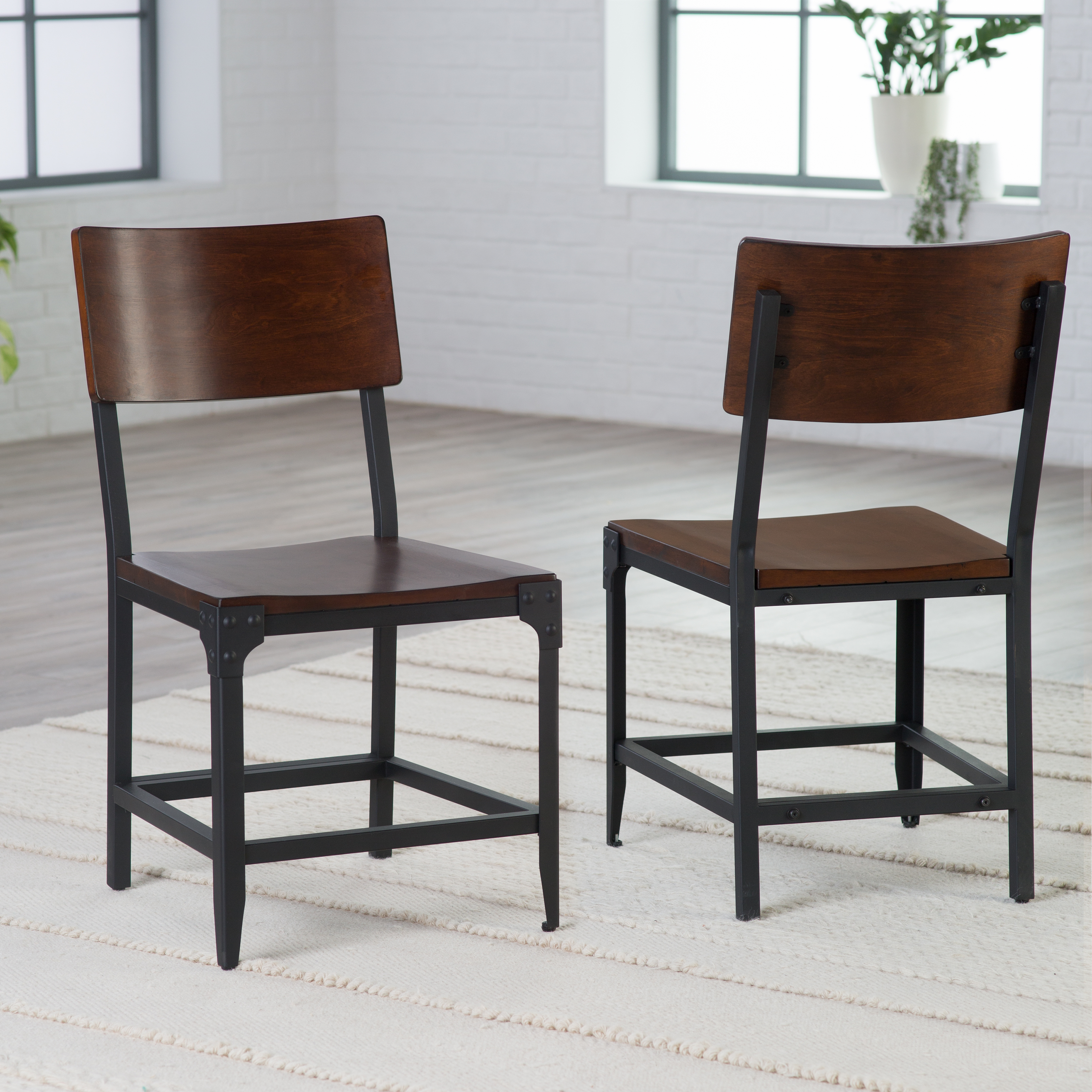 Belham Living Trenton Wood and Metal Dining Chairs - Set of 2 & Distressed u0026 Industrial Style Kitchen and Dining Room Chairs | Hayneedle