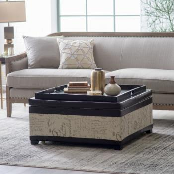 Belham Living Corbett Leather and Linen Coffee Table Storage Ottoman