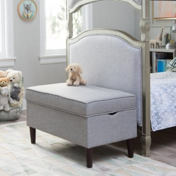 Classic Playtime Hannah Upholstered Storage Bench - Gray