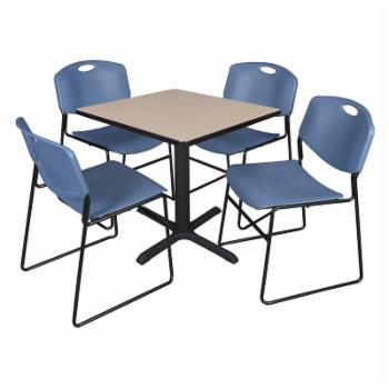 Regency Cain Square Breakroom Table with 4 Stackable Zeng Chairs