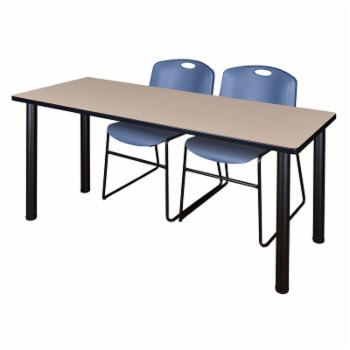 Regency Kee Beige Training Table with 2 Stackable Zeng Chairs