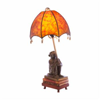 River of Goods Stained Glass Intellectual Monkey Table Lamp