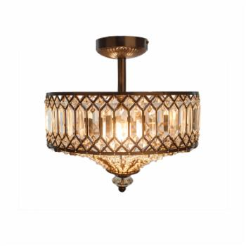 River of Goods Tiered Jeweled Glass Semi Flush Mount Lighting Fixture