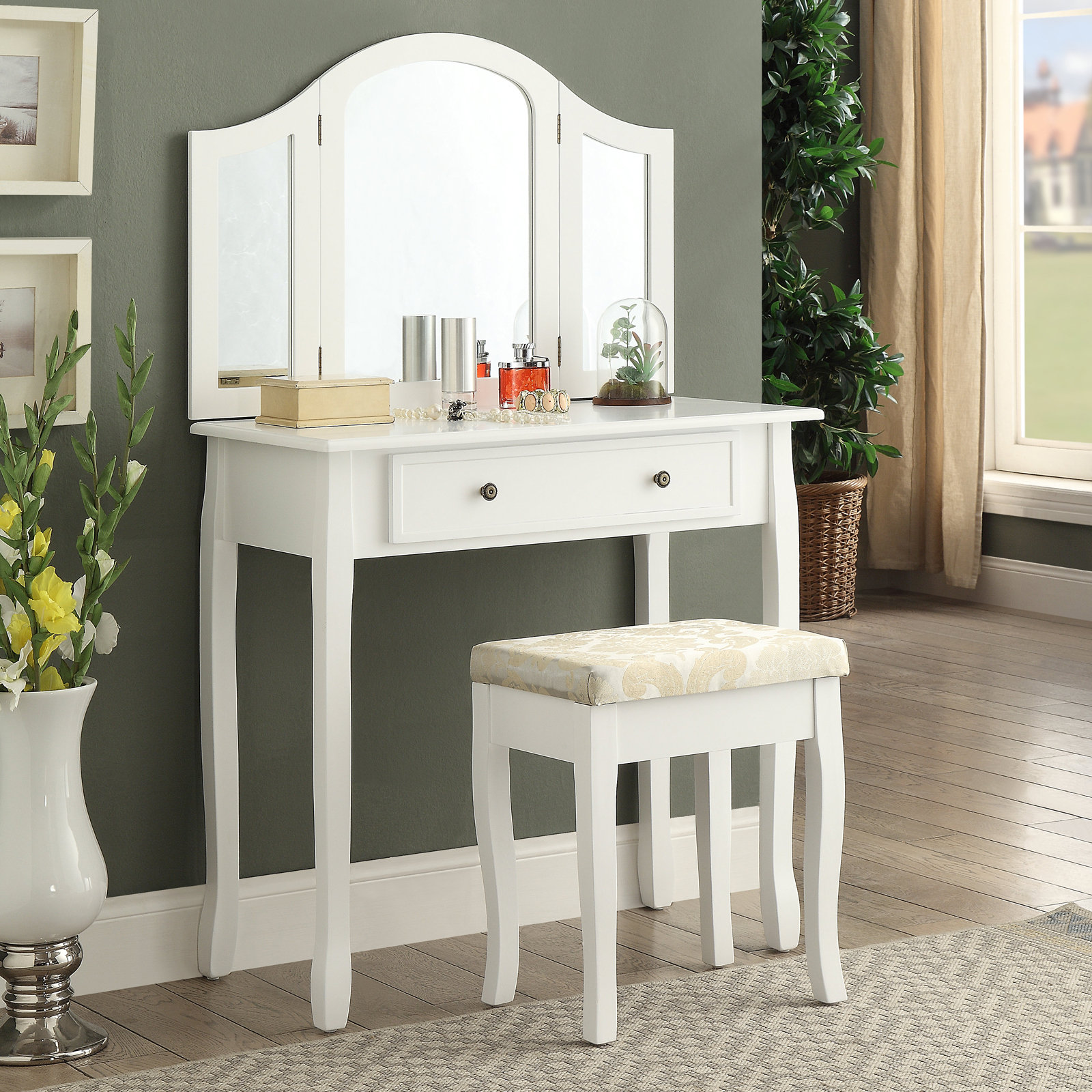 Roundhill Furniture Sanhy Wooden Bedroom Vanity And Stool Set