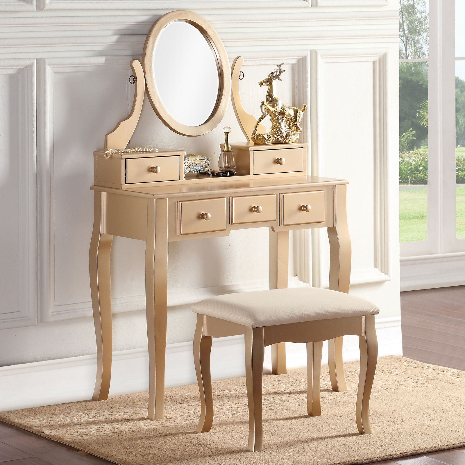Exceptional Roundhill Furniture Ashley Wooden Bedroom Vanity And Stool Set