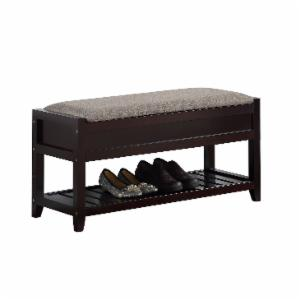 Roundhill Furniture Rouen Fabric Upholstered Shoe Storage Bench